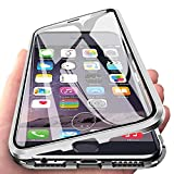 Eabhulie iPhone 6s Plus Funda, Metal Bumper con Adsorción Magnética + 360 Grados Vidrio Templado Cobertura de Pantalla Completa Carcasa para iPhone 6 Plus / 6s Plus 5.5' Plata