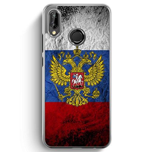 Russland Splash Flagge Russia - Hülle für Huawei P20 Lite Hardcase - Motiv Design Russisch - transparente durchsichtige Handyhülle Schutzhülle Cover Flagge Cover