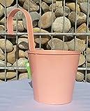 Hängetopf rosa Pflanztopf mit Haken Übertopf Metall zum Hängen 50060
