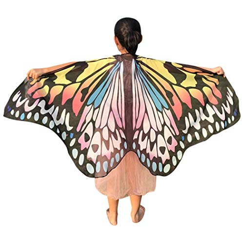 Quaan Halloween Kinder Schmetterling Drucken Flügel Schals Poncho Chiffon Kostüm Zubehörteil Gift niedlich Kostüme Vampir Dracula Kapuze Cape schwarz Horrorkostüm Vampirkapskinder
