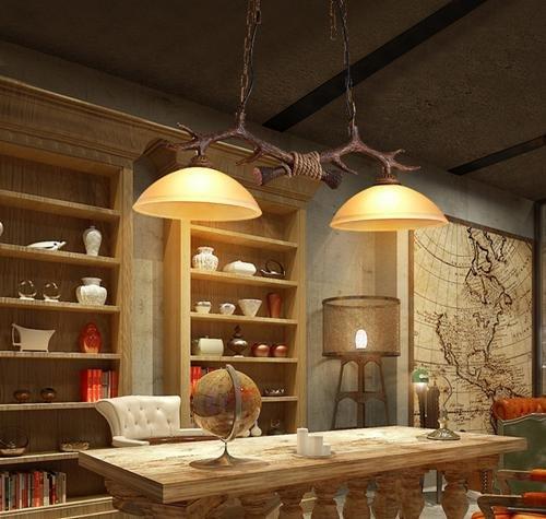 FWEF vetro pulsante ciondolo Nordic retrò luce Cafe abbigliamento negozio semplice studio doppio angolo dei cervi del lampadario irradiazione zona 5 ? -10 ? (80 * 83 CM) regolabile - Corda Angolo