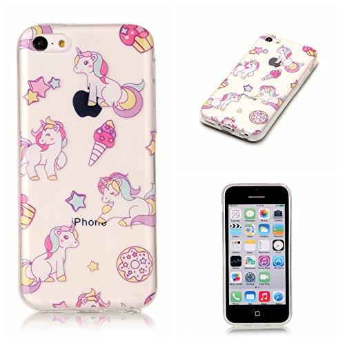 Linvei iPhone 5C Silicone Coque,iPhone 5C Motif coloré Coque, Ultra Mince TPU Silicone Design Antichoc Housse pour iPhone 5C-Mandala vert Cartoon Unicorn