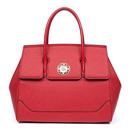 CLUCI Damen/Mädchen Ledertasche Handtasche Umhängetasche Schultertasche Klein Gelb 5-Rot