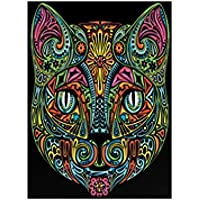 """Terciopelo color de 47 x 35 cm """"la cara del gato"""" Dibujo Sistema de Coloración (grande, Multi-Color)"""