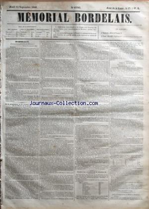 MEMORIAL BORDELAIS [No 13783] du 14/09/1848 - M. XAVIER DURIEU - M. HUBERT DE LISLE - M.MATHIEU - LA PROPOSITION DE M.CRESPEL DE LATOUCHE SUR LA LIBERTE DE LA PRESSE - M. LEDRU-ROLLIN - ELECTION DES MEMBRES DE LA CHAMBRE DE COMMERCE - MM. BERTIN - DUFFOUR-DUBERGIER - DURIN - GOUTEYRON - FAURE - DUVERGNIER - SEMPE - ASSIER - FERRIERE ET CABROL - CONSEIL MUNICIPAL - M. CURE