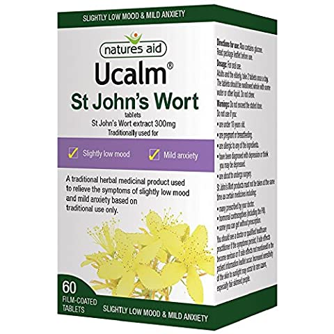 Natures Aid Ucalm St John's Wort Extract, 300 mg, 60 Tablets (Relief of the Symptoms of Slightly Low Mood and Mild Anxiety, Equivalent to 1500-2100 mg St John's Wort Herb, Vegan Society Approved)