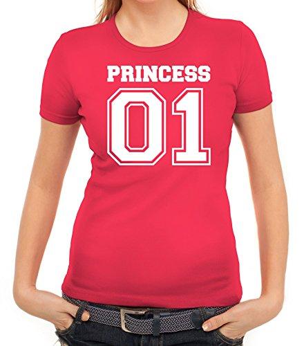 Valentinstag Hochzeit Paar Partner Valentine Damen T-Shirt mit Princess 01 vorne Motiv Pink