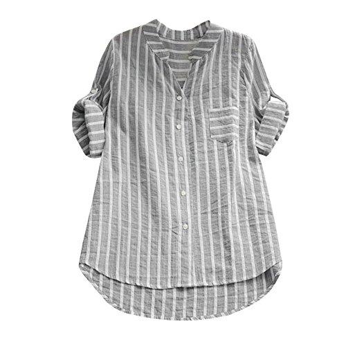 CAOQAO Damen Lässig Plus Größe Vertikal Streifen Lose Leinen Knopf Tunika Hemd (Machen Sie Es Selbst Baby Halloween Kostüme)