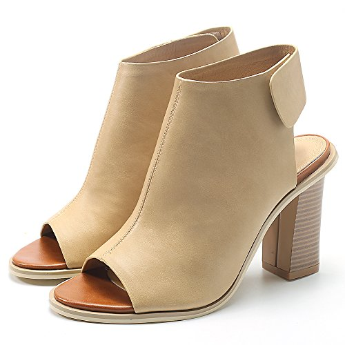 Damenschuhe Pumps Peep Toe High-Heel Blockabsatz Slingback Beige