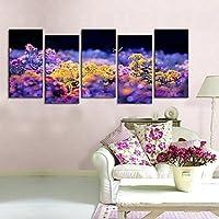FanVass Su tela Art farfalle sono svolazzare di fiore in fiore. Set di 5