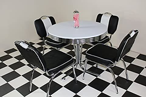 American 50s Diner Furniture Budget Retro Style Table and 4 Studded Black Chairs
