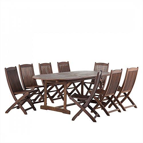 Gartenmöbel Braun - Balkonmöbel - Holzmöbel - Terrassenmöbel - Tisch + 8 Stühle – MAUI