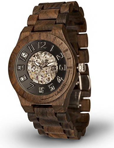LAiMER orologio da polso automatico in legno | 100% legno sandalo | 100% prodotto naturale, (Scheletro Orologio Da Tavolo)