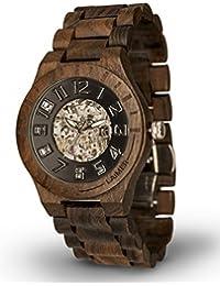 LAiMER Herren - Holzuhr RUDOLPH - Automatik Armband Uhr - aus feuinem Sandelholz - dunkles Design, atmungsaktiv, hoher Tragekomfort