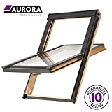 Preishammer Dachfenster Holz 55x72 cm Solstro Slim Rahmen Schwingdachfenster Kieferholz inklusive Eindeckrahmen für Ziegel