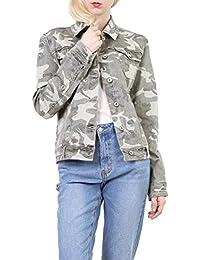Toxik3 Femme Blouson en Jean Militaire Veste Courte Denim Camouflage Kaki  Manches Longues Taille du S c21019da758e