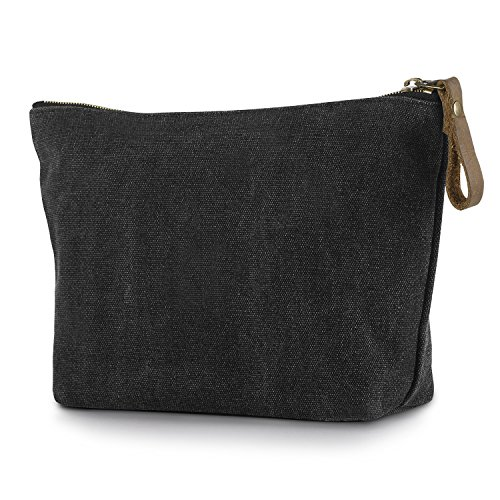 SMRITI Canvas Taschenorganizer Kosmetiktasche mit Reißverschluss - Dunkel Grau (Kosmetiktasche Handtasche)