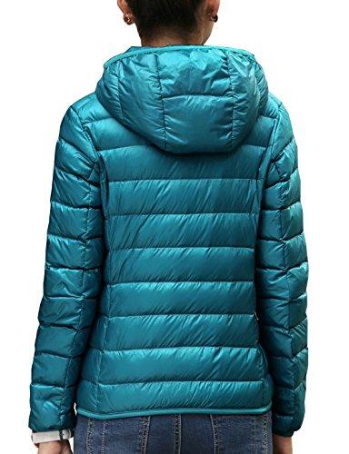 CHERRY CHICK Damen Daunenjacke Kapuzen Packbar Ultra Leicht Gewicht Daunenmantel Peacock Blue-AB