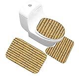 Yjmgrowing Waschraum-Zubehör 3 STÜCKE Novel Holzbrett Druck Badezimmer Teppich Set, Rutschfeste Badematte Decor (Badematte + Sockel Matte + Toilettensitzabdeckung Matte) Familiennutzung