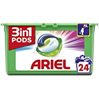 Ariel 3en1 Pods Detergente En Cápsulas, Colour & Style, Limpieza Increíble, Limpia, Quita Manchas, Ilumina- 24Lavados