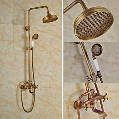 Rainfall Antique Brass Mixer Taps Double Handles Bathroom Combo Bathroom Shower Set With Shower Hand And Round Shower Hand