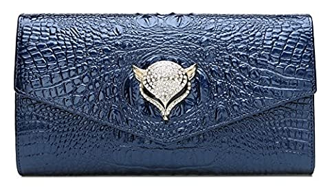 Yacn Women Crocodile Genuine Leather Shoulder Bags Evening bags with Metal Chain for girls Clutch