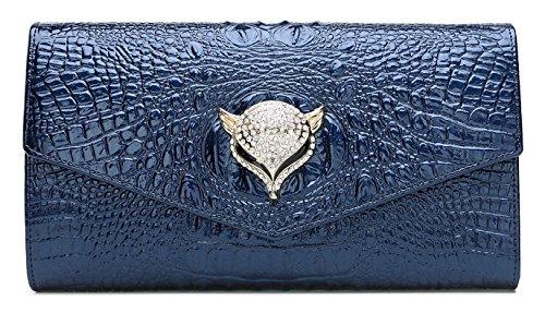 yacn Frauen Krokodil echtes Leder Umhängetaschen Abend Taschen mit Metall Kette für Mädchen Kupplung, - blau - Größe: (Purse Glitter-abend-clutch)