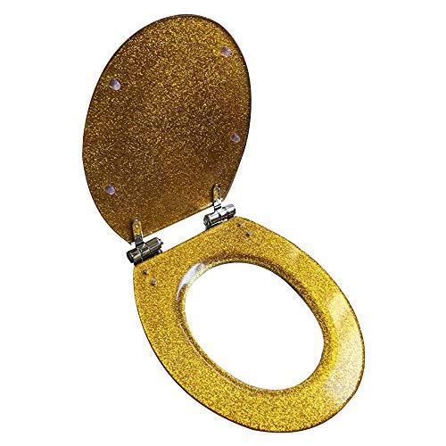 Toiletseai WC-Sitz WC-Sitz Absenkautomatik mit Pufferschale Deckel WC-Sitz für alle Badezimmer Gold