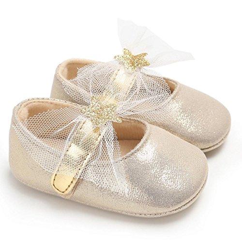 Igemy 1Paar Säugling Neugeboren Kleinkind Baby Süß Prinzessin Mädchen Krippe Schuhe Soft Sole Anti-Rutsch Turnschuhe Beige
