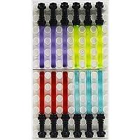 12 sciabole luminose Star Wars,, Lego, 4 colori con impugnatura nera Possono essere usate con tutte le statuette Lego