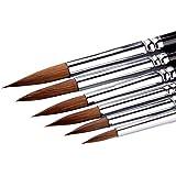 6pcs 6different tamaños pincel Set para los niños largo mango de madera rojo sable Filbert aceite de pinceles para acrílico Gouche y acuarela