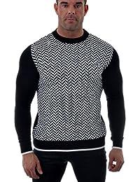D&R Fashion Hommes Sweatshirt mélange de coton à motifs chevrons noir blanc ras du cou