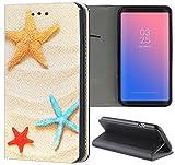 Samsung Galaxy S5 / S5 Neo Hülle Premium Smart Einseitig Flipcover Hülle Samsung S5 Neo Flip Case Handyhülle Samsung S5 Motiv (1550 Strand Urlaub Seesterne Blau Gelb Rot)
