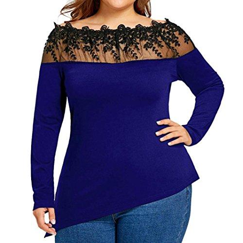ESAILQ Damen Tunika Sommer Tops Damen Kurzarm Basic Uni Leichtes Freizeit Rundhals mit Knopf Plissee T-Shirt Oberteile(XXXL,Blau)