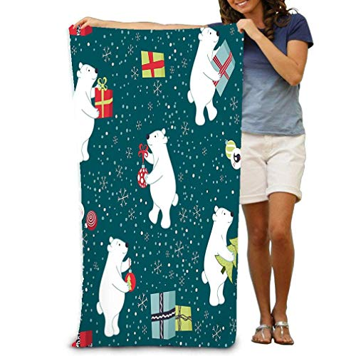 "yuiytu Badetücher Duschtücher Strandtücher Bath Towel Beach Towel Comfortable Quick Drying Bath Towels for Home Bathroom Pool and Gym 32""X52"" Bears preparing Christmas preparing Gifts Decorate"