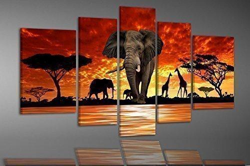 BILDER-MANUFAKTUR, LEINWANDBILDER, KUNSTDRUCK, WANDBILD, BILD, BILDER, 6899-3, AFRIKA, ELEFANTEN, SAVANNE, AFRICA