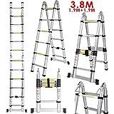 Voluker 3.8M Escaleras plegables aluminio,Escalera Telescópica ,1.9M+1.9M,Escalera aluminio Carga maxima150kg