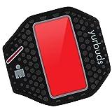 Yurbuds by JBL ErgoSport Sport Armband (reflektierendes, schweißbeständiges, RadiantReflect-Technologie, LED Beleuchtung und integrierter Taschen, geeignet für Smartphones/MP3-Geräte) schwarz/rot