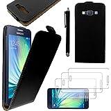 ebestStar - pour Samsung Galaxy A3 SM-A300F (2015) - Housse Coque Etui à rabat PU cuir ULTRA FIN (ultra slim case) + Stylet tactile + 3 Films protection écran, Couleur Noir [Dimensions PRECISES de votre appareil : 130.1 x 65.5 x 6.9 mm, écran 4.5'']
