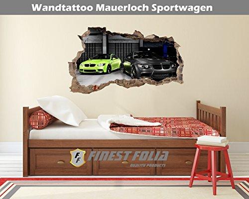 Preisvergleich Produktbild Wandtattoo Mauerloch Auto Wandfolie Aufkleber Wohnzimmer Schlafzimmer (WL17BMW M3)