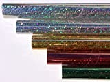 HOLOGRAMMFOLIE, farbig sortiert, 1m x 33cm, selbstklebend 2x silber, je 1x gold, rot, grün