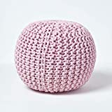 Homescapes Pouf en Tricot Rond Coloris Rose Pastel 35 x 40 cm