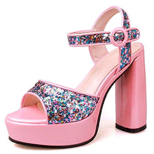 Damen Open Toe Sandalen Pailleten High-Heel Blockabsatz Slingback mit Plateau Pink