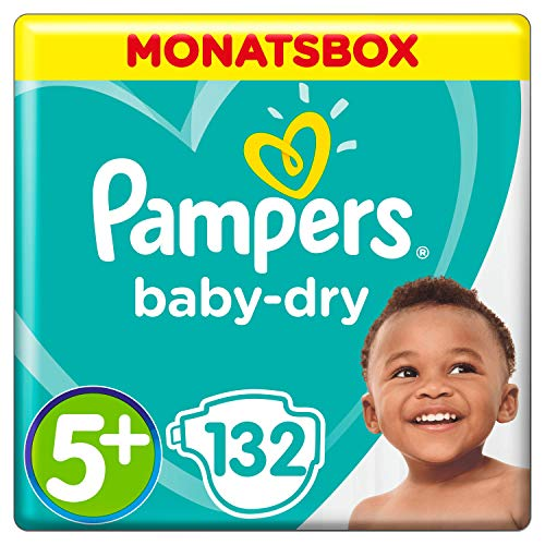 Pampers Baby-Dry Windeln, Gr. 5+, 12-17 kg, Monatsbox, 1er Pack (1 x 132 Stück) -