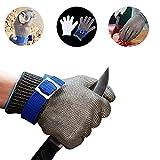 SMALLK Schnittschutzhandschuhe 100% Edelstahl-Metal Mesh Schnittfeste Lebensmittelecht Handschuhe Metzgerhandschuh mit Weiße Stoffhandschuhe (L)