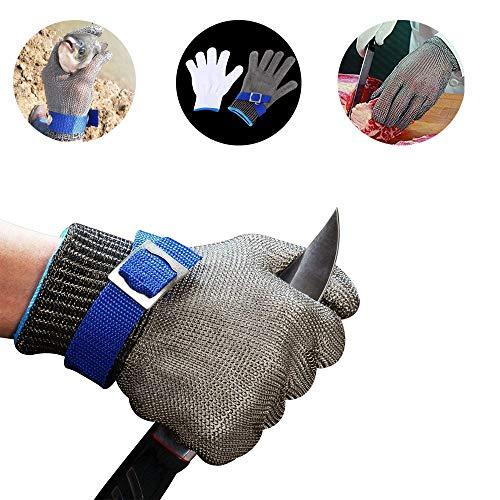 SMALLK Schnittschutzhandschuhe 100% Edelstahl-Metal Mesh Lebensmittelecht Handschuhe Metzgerhandschuh (M)