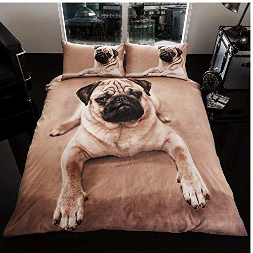 Gaveno Cavailia Bettbezug- und Kissen-Garnitur, dreiteilig, Premium-Kollektion, 3D-Mops-Hund, Multi, King Size -