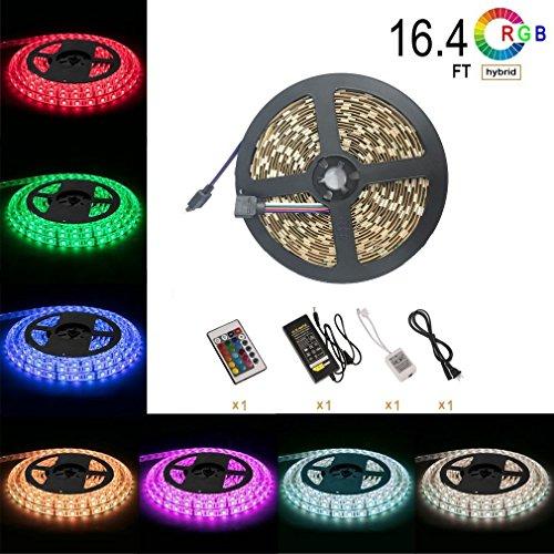 Signcomplex 5m RGB LED Strip LED Streifen mit 150 LEDs (SMD5050), 24 Tasten IR Fernbedienung, Controller und Netzteil, Multicolor LED Ribbon für Home Lighting Indoor - Kinder-tv-tisch