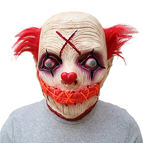 WYJSS Halloween-Horror-schlechter Gesichts-Clown Glowing Latex Mask Headgear,White-OneSize (Clown Halloween-gesichter Scary)