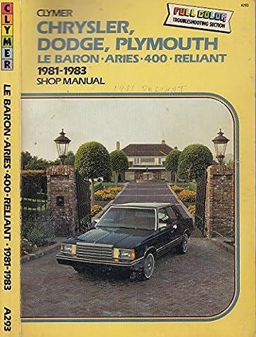 Chrysler Dodge Plymouth: Lebaron, Aries, 400 Reliant 1981 1987